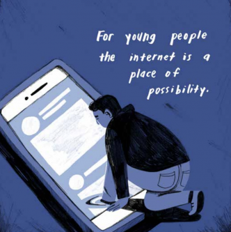 Illustration of a youth on a big smartphone